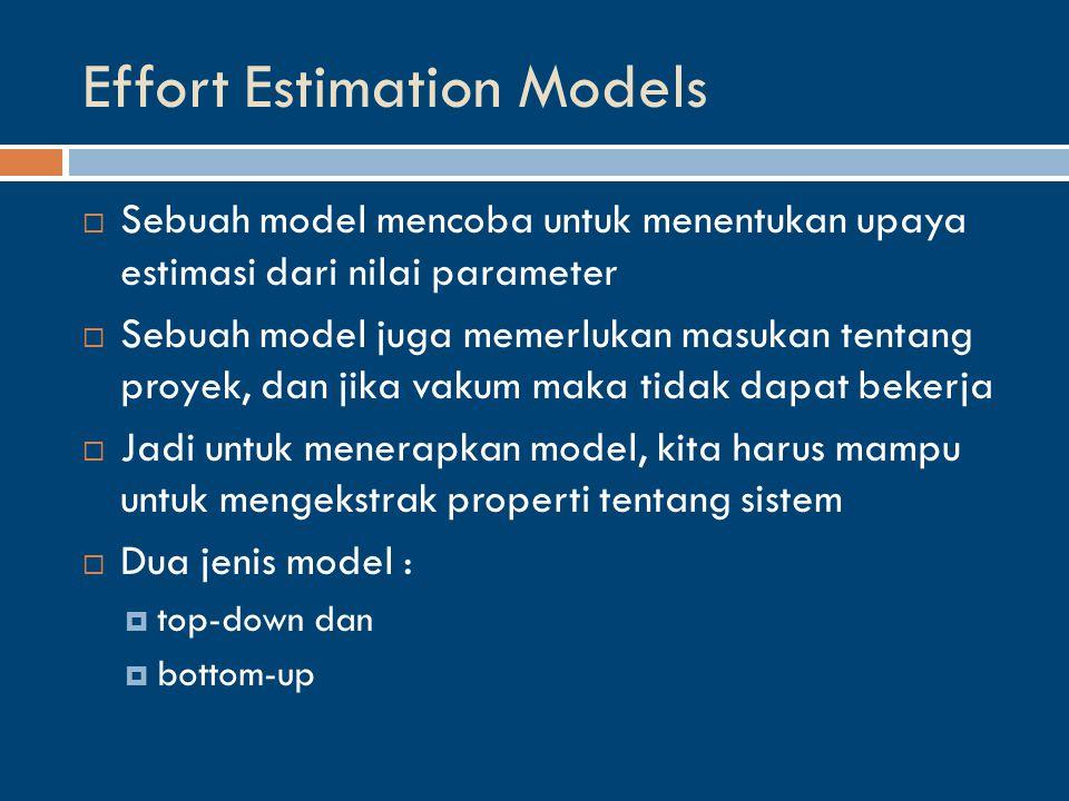 Effort Estimation Models  Sebuah model mencoba untuk menentukan upaya estimasi dari nilai parameter  Sebuah model juga memerlukan masukan tentang proyek, dan jika vakum maka tidak dapat bekerja  Jadi untuk menerapkan model, kita harus mampu untuk mengekstrak properti tentang sistem  Dua jenis model :  top-down dan  bottom-up