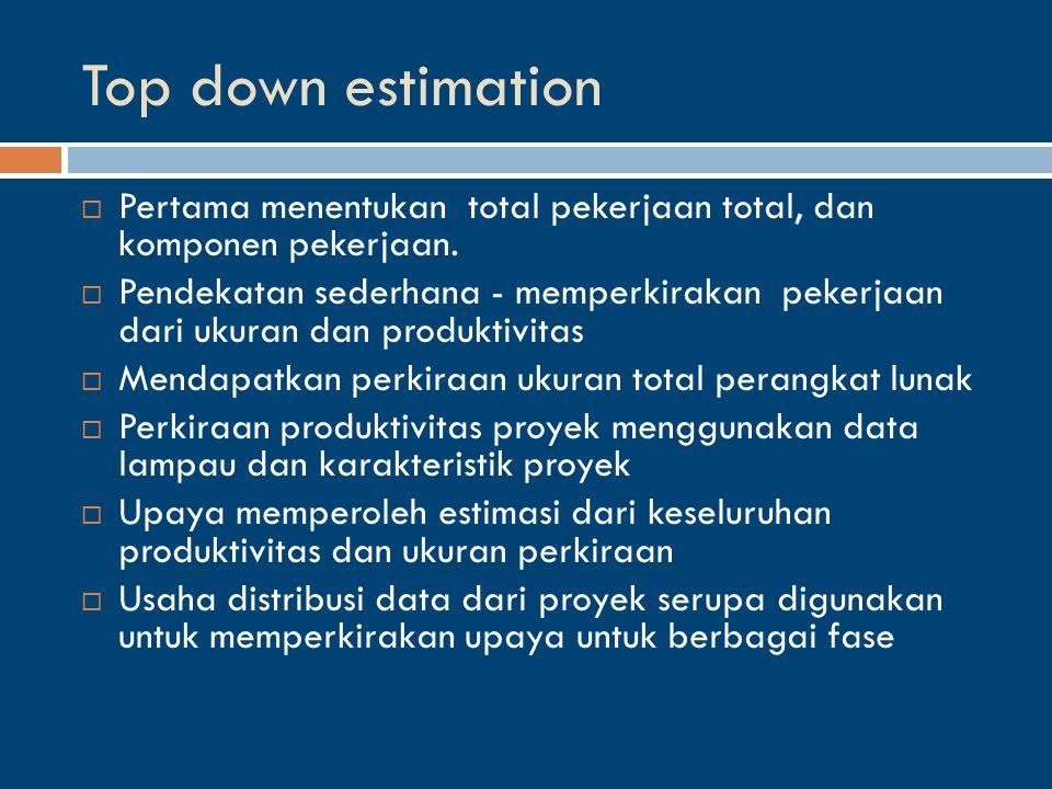 Top down estimation  Pertama menentukan total pekerjaan total, dan komponen pekerjaan.