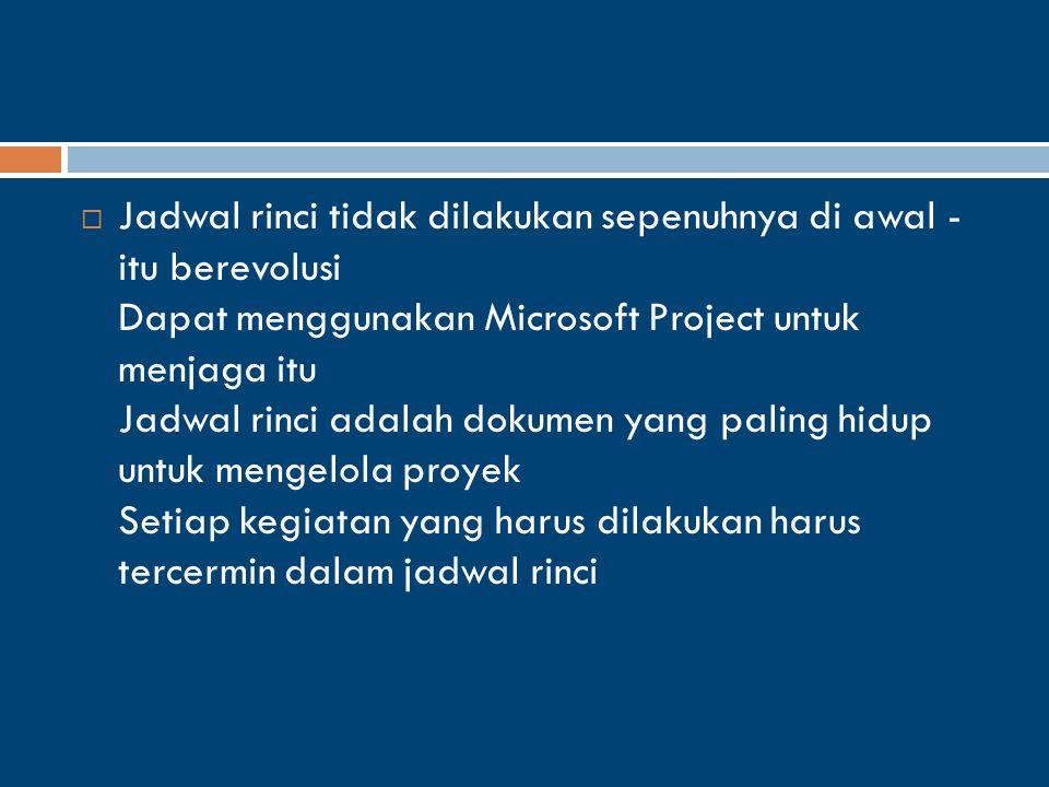  Jadwal rinci tidak dilakukan sepenuhnya di awal - itu berevolusi Dapat menggunakan Microsoft Project untuk menjaga itu Jadwal rinci adalah dokumen yang paling hidup untuk mengelola proyek Setiap kegiatan yang harus dilakukan harus tercermin dalam jadwal rinci