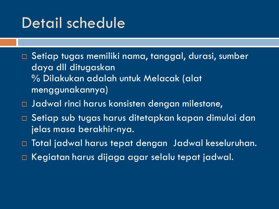 Detail schedule  Setiap tugas memiliki nama, tanggal, durasi, sumber daya dll ditugaskan % Dilakukan adalah untuk Melacak (alat menggunakannya)  Jadwal rinci harus konsisten dengan milestone,  Setiap sub tugas harus ditetapkan kapan dimulai dan jelas masa berakhir-nya.