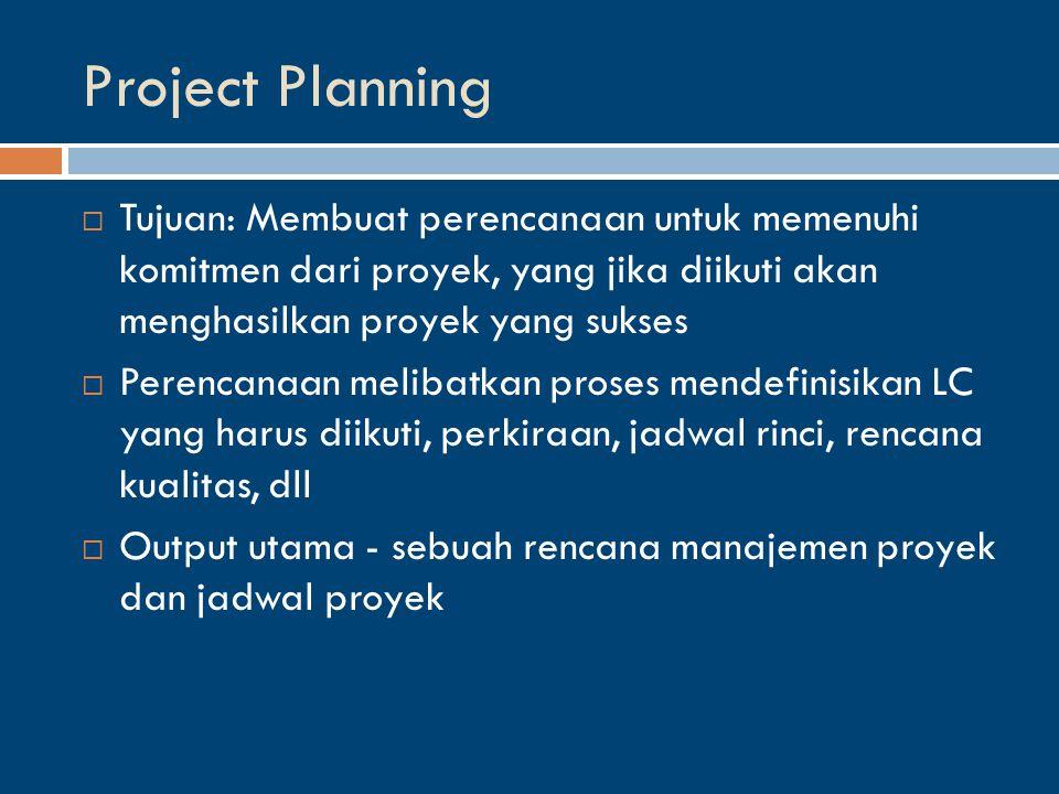 Project Planning  Tujuan: Membuat perencanaan untuk memenuhi komitmen dari proyek, yang jika diikuti akan menghasilkan proyek yang sukses  Perencanaan melibatkan proses mendefinisikan LC yang harus diikuti, perkiraan, jadwal rinci, rencana kualitas, dll  Output utama - sebuah rencana manajemen proyek dan jadwal proyek