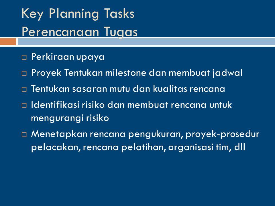 Key Planning Tasks Perencanaan Tugas  Perkiraan upaya  Proyek Tentukan milestone dan membuat jadwal  Tentukan sasaran mutu dan kualitas rencana  Identifikasi risiko dan membuat rencana untuk mengurangi risiko  Menetapkan rencana pengukuran, proyek-prosedur pelacakan, rencana pelatihan, organisasi tim, dll