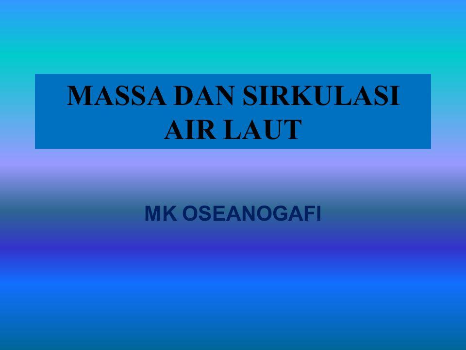 Berdasar pada perbedaan Suhu dan Salinitas dan pengaruhnya terhadap Densitas 1.Massa air permukaan (upper water mass): meliputi semua massa air yang terdapat di atas daerah termoklin 2.
