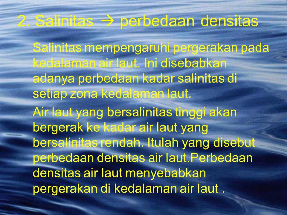 Salinitas mempengaruhi pergerakan pada kedalaman air laut. Ini disebabkan adanya perbedaan kadar salinitas di setiap zona kedalaman laut. Air laut yan