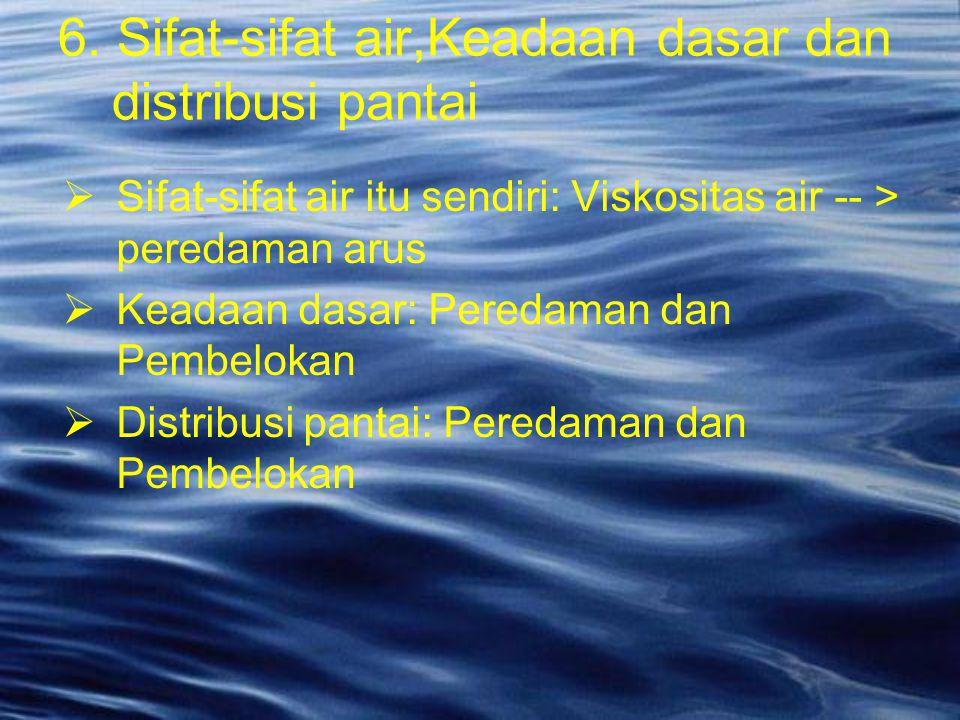  Sifat-sifat air itu sendiri: Viskositas air -- > peredaman arus  Keadaan dasar: Peredaman dan Pembelokan  Distribusi pantai: Peredaman dan Pembelo