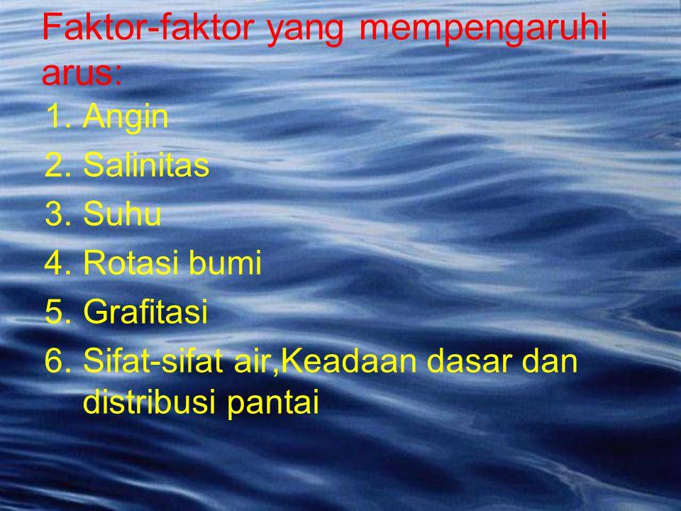 1.Angin 2.Salinitas 3.Suhu 4.Rotasi bumi 5.Grafitasi 6.Sifat-sifat air,Keadaan dasar dan distribusi pantai Faktor-faktor yang mempengaruhi arus:
