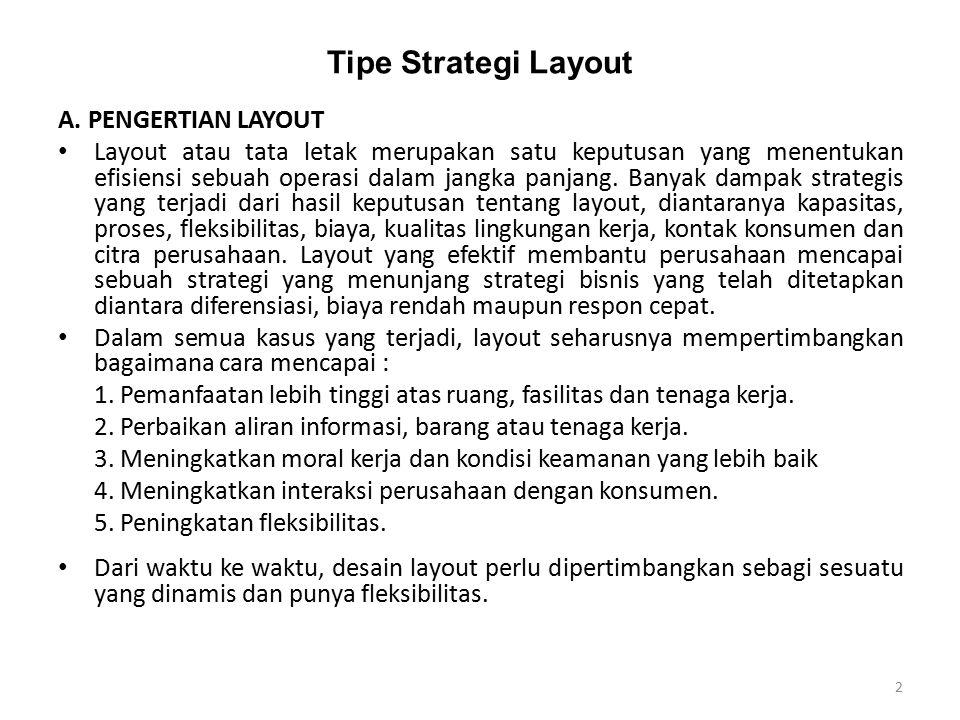 Tipe Strategi Layout A. PENGERTIAN LAYOUT Layout atau tata letak merupakan satu keputusan yang menentukan efisiensi sebuah operasi dalam jangka panjan