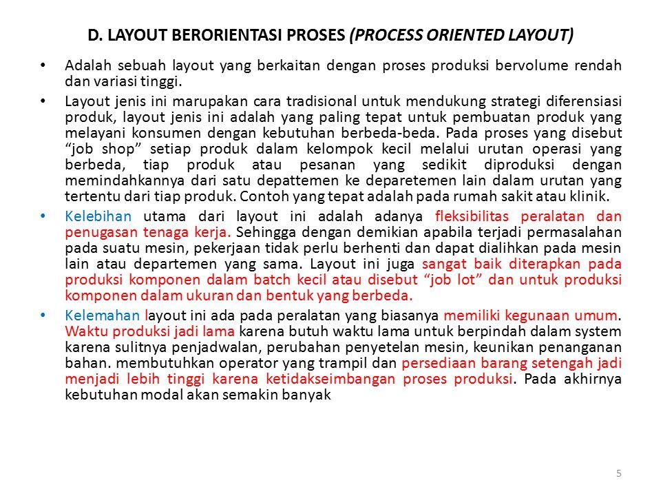 D. LAYOUT BERORIENTASI PROSES (PROCESS ORIENTED LAYOUT) Adalah sebuah layout yang berkaitan dengan proses produksi bervolume rendah dan variasi tinggi