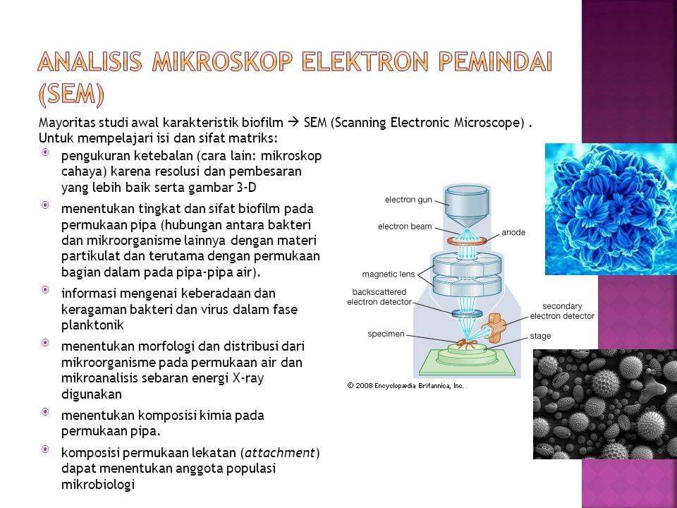 pengukuran ketebalan (cara lain: mikroskop cahaya) karena resolusi dan pembesaran yang lebih baik serta gambar 3-D menentukan tingkat dan sifat biof