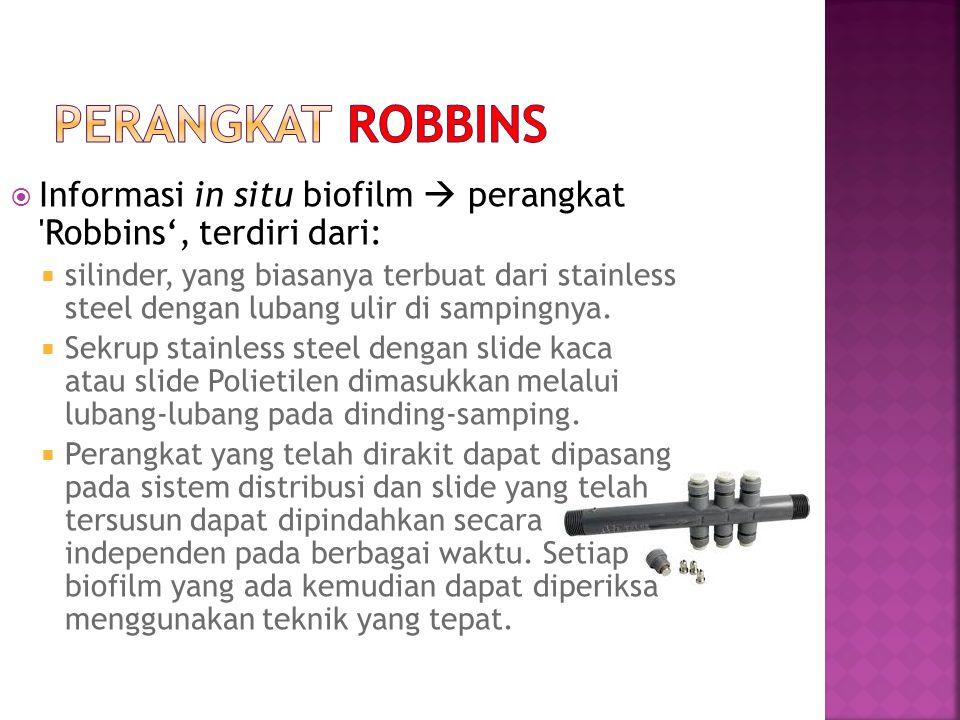  Informasi in situ biofilm  perangkat 'Robbins', terdiri dari:  silinder, yang biasanya terbuat dari stainless steel dengan lubang ulir di sampingn