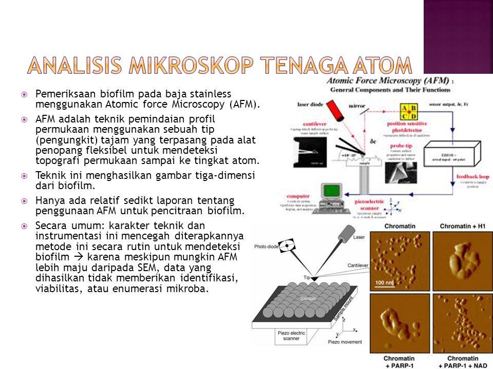  Pemeriksaan biofilm pada baja stainless menggunakan Atomic force Microscopy (AFM).  AFM adalah teknik pemindaian profil permukaan menggunakan sebua