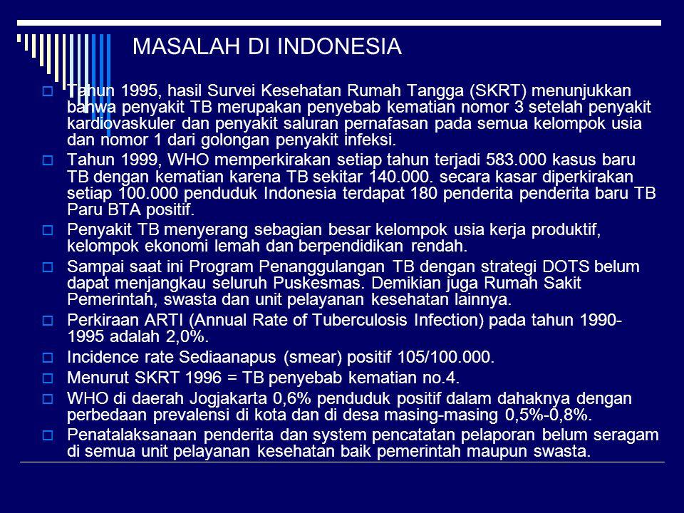 MASALAH DI INDONESIA  Tahun 1995, hasil Survei Kesehatan Rumah Tangga (SKRT) menunjukkan bahwa penyakit TB merupakan penyebab kematian nomor 3 setela
