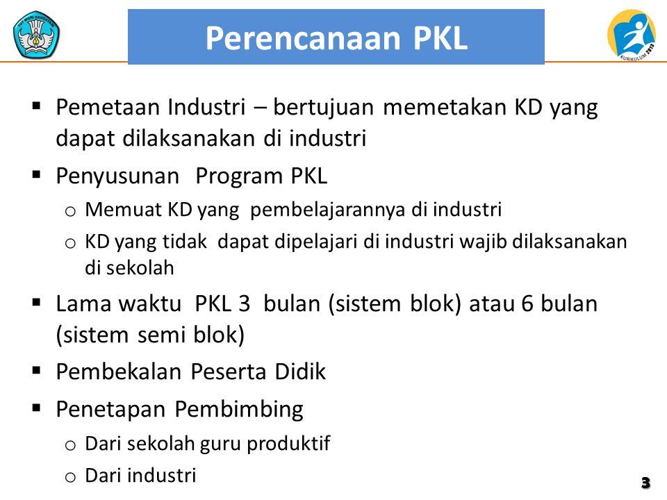 Perencanaan PKL  Pemetaan Industri – bertujuan memetakan KD yang dapat dilaksanakan di industri  Penyusunan Program PKL o Memuat KD yang pembelajara