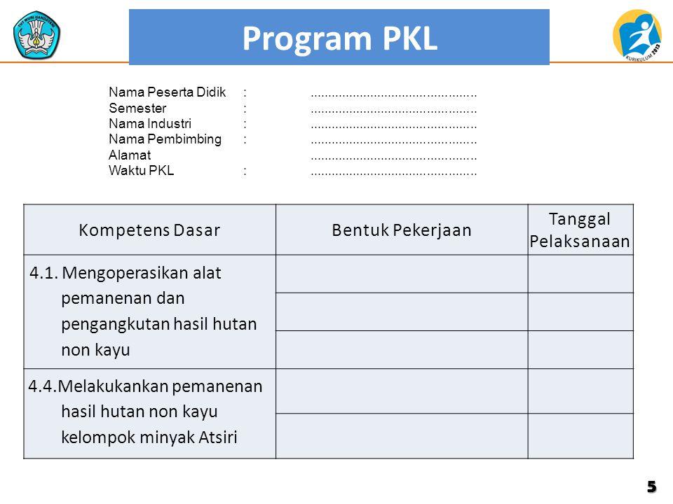 Program PKL 5 Kompetens DasarBentuk Pekerjaan Tanggal Pelaksanaan 4.1. Mengoperasikan alat pemanenan dan pengangkutan hasil hutan non kayu 4.4.Melakuk