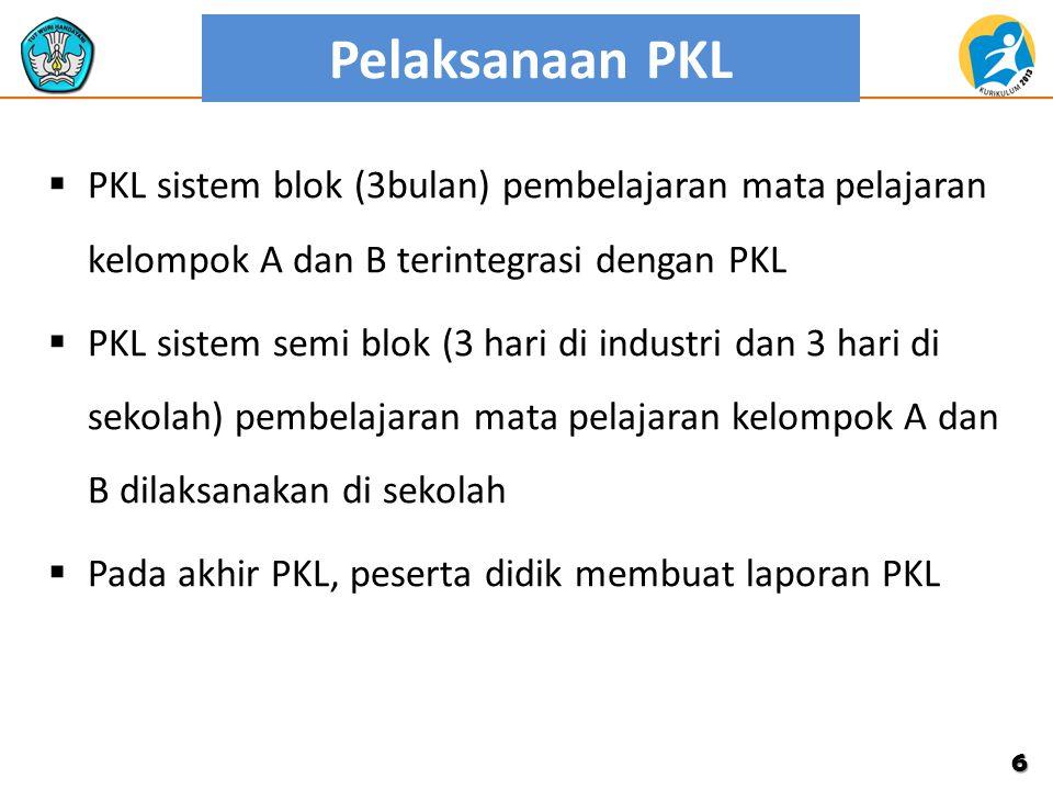 Pelaksanaan PKL  PKL sistem blok (3bulan) pembelajaran mata pelajaran kelompok A dan B terintegrasi dengan PKL  PKL sistem semi blok (3 hari di indu