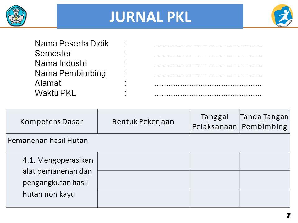 JURNAL PKL 7 Kompetens DasarBentuk Pekerjaan Tanggal Pelaksanaan Tanda Tangan Pembimbing Pemanenan hasil Hutan 4.1. Mengoperasikan alat pemanenan dan