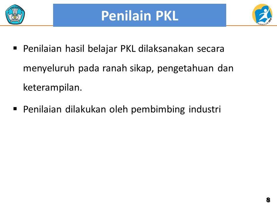 Penilain PKL  Penilaian hasil belajar PKL dilaksanakan secara menyeluruh pada ranah sikap, pengetahuan dan keterampilan.  Penilaian dilakukan oleh p