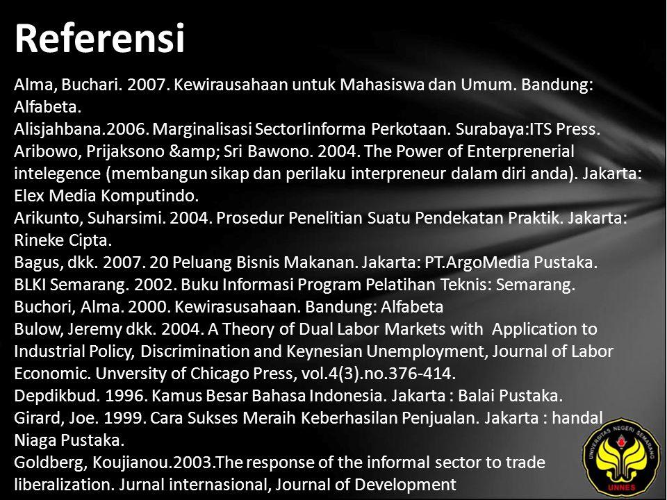 Referensi Alma, Buchari. 2007. Kewirausahaan untuk Mahasiswa dan Umum.