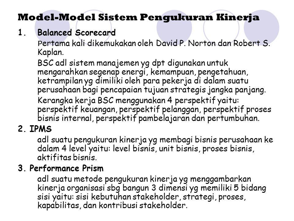 Model-Model Sistem Pengukuran Kinerja 1.Balanced Scorecard P ertama kali dikemukakan oleh David P. Norton dan Robert S. Kaplan. BSC adl sistem manajem