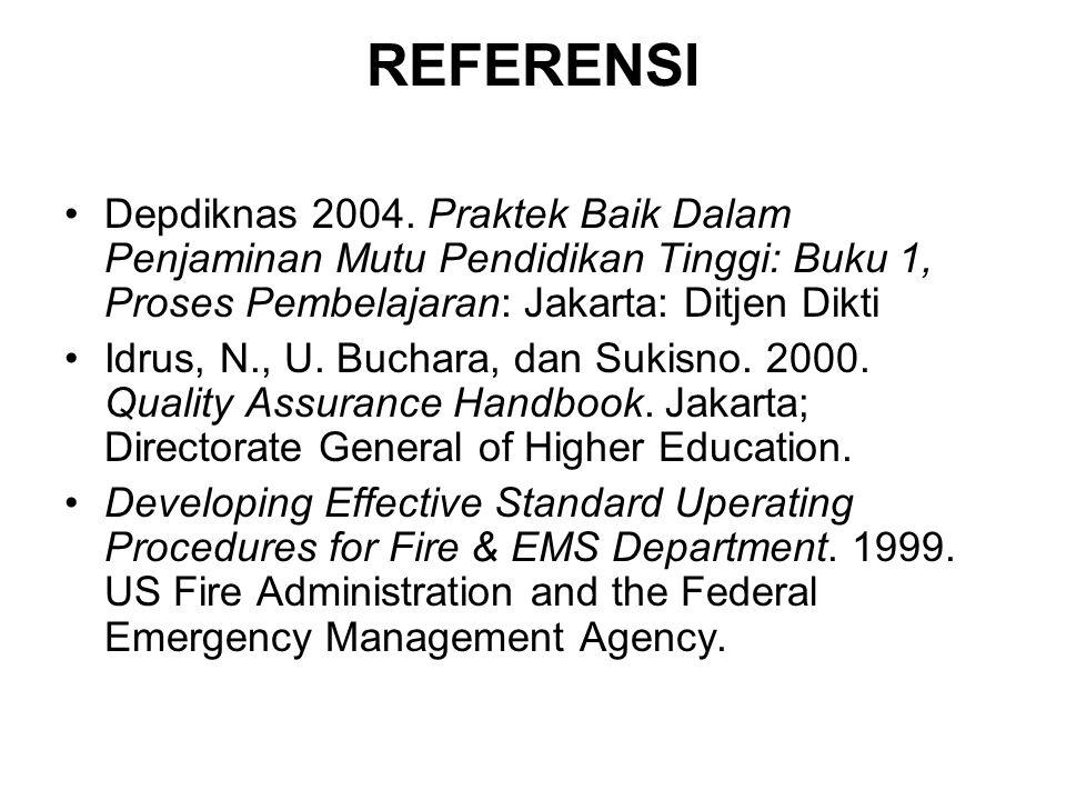 REFERENSI Depdiknas 2004. Praktek Baik Dalam Penjaminan Mutu Pendidikan Tinggi: Buku 1, Proses Pembelajaran: Jakarta: Ditjen Dikti Idrus, N., U. Bucha