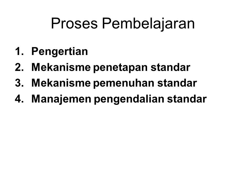 Proses Pembelajaran 1.Pengertian 2.Mekanisme penetapan standar 3.Mekanisme pemenuhan standar 4.Manajemen pengendalian standar