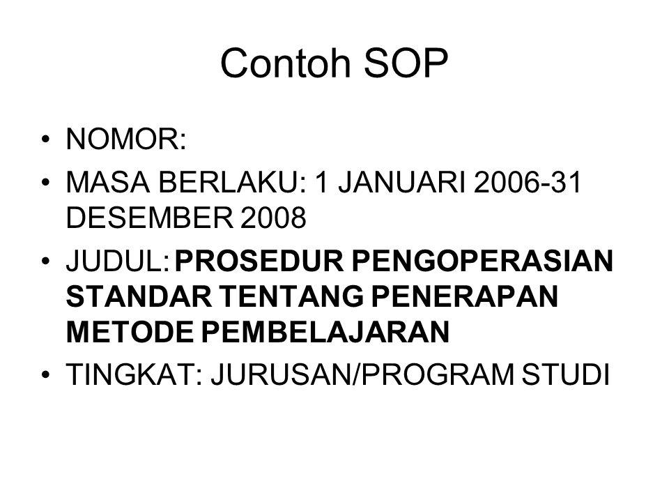 Contoh SOP NOMOR: MASA BERLAKU: 1 JANUARI 2006-31 DESEMBER 2008 JUDUL:PROSEDUR PENGOPERASIAN STANDAR TENTANG PENERAPAN METODE PEMBELAJARAN TINGKAT: JU
