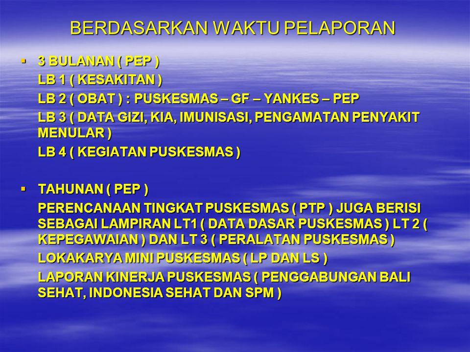BERDASARKAN WAKTU PELAPORAN  3 BULANAN ( PEP ) LB 1 ( KESAKITAN ) LB 2 ( OBAT ) : PUSKESMAS – GF – YANKES – PEP LB 3 ( DATA GIZI, KIA, IMUNISASI, PEN