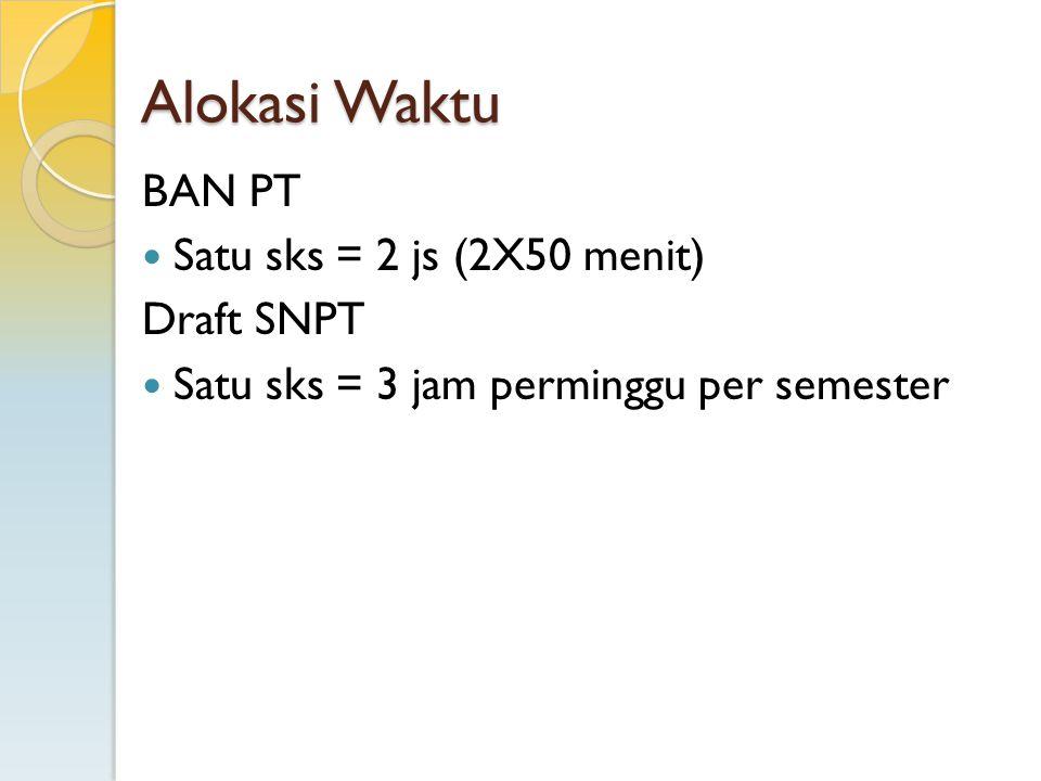 Alokasi Waktu BAN PT Satu sks = 2 js (2X50 menit) Draft SNPT Satu sks = 3 jam perminggu per semester