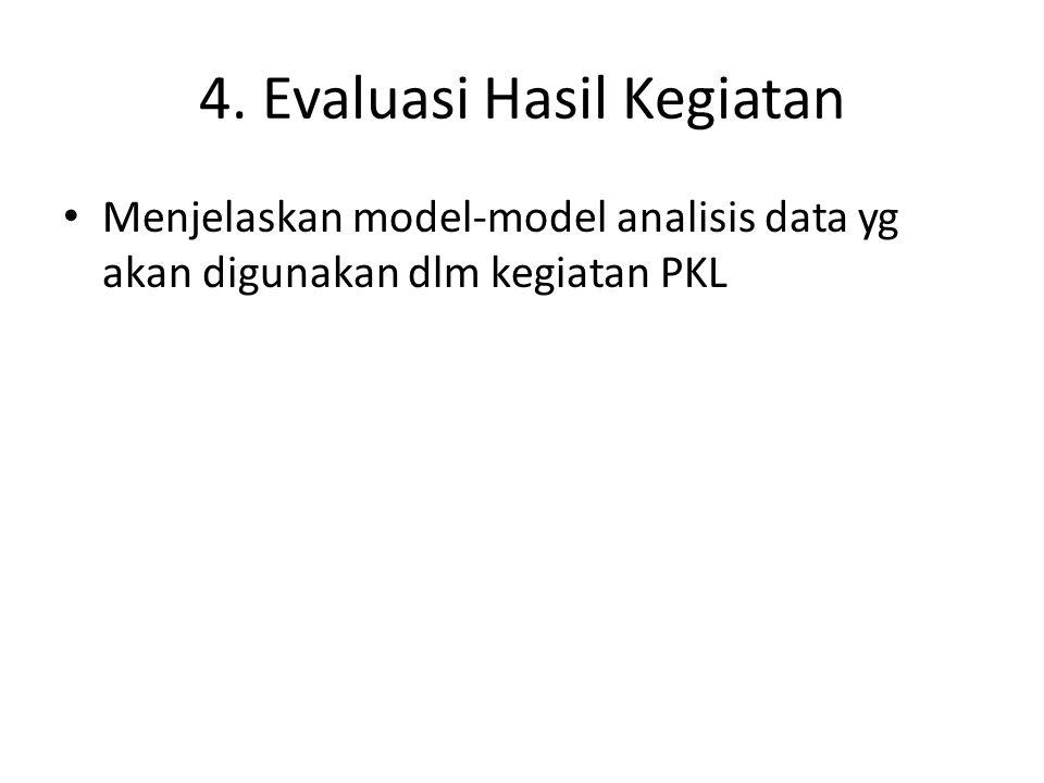 4. Evaluasi Hasil Kegiatan Menjelaskan model-model analisis data yg akan digunakan dlm kegiatan PKL