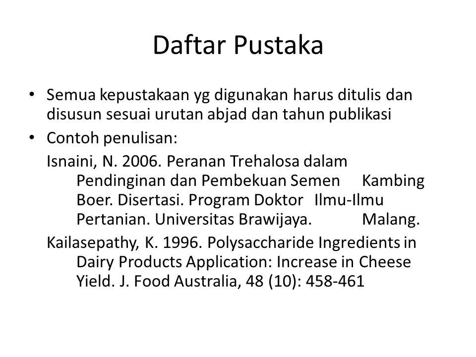Daftar Pustaka Semua kepustakaan yg digunakan harus ditulis dan disusun sesuai urutan abjad dan tahun publikasi Contoh penulisan: Isnaini, N. 2006. Pe