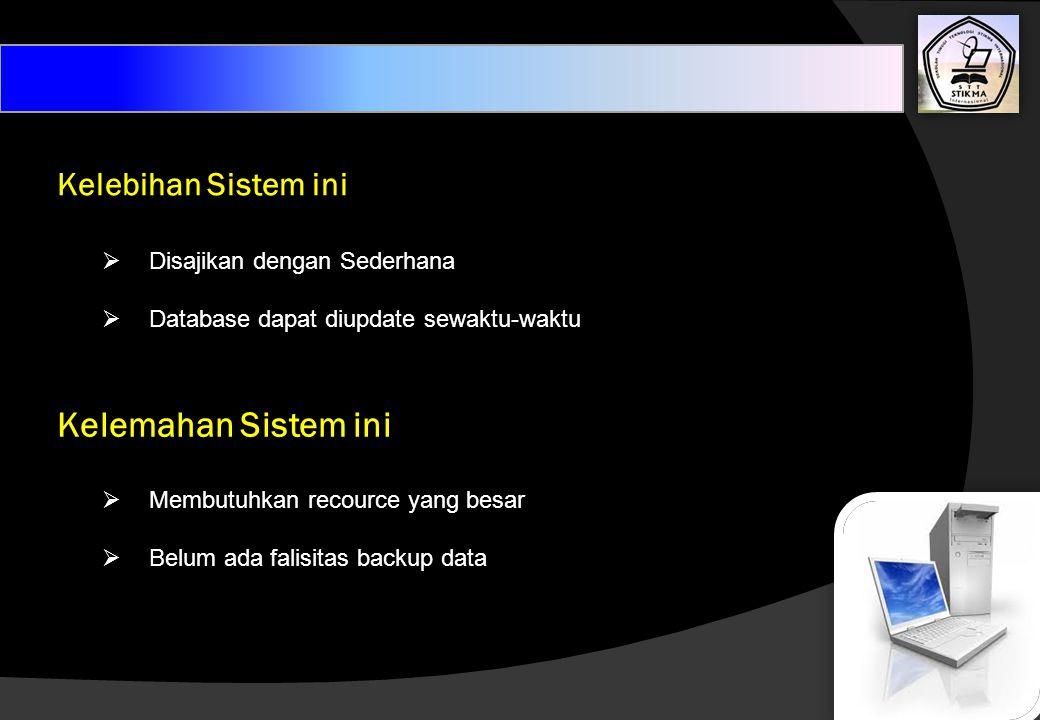 Kelebihan Sistem ini  Disajikan dengan Sederhana  Database dapat diupdate sewaktu-waktu Kelemahan Sistem ini  Membutuhkan recource yang besar  Bel