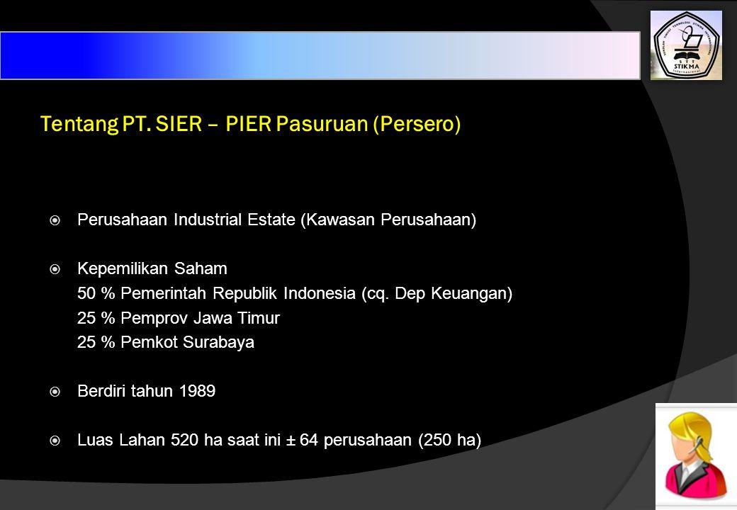 Tentang PT. SIER – PIER Pasuruan (Persero) PPerusahaan Industrial Estate (Kawasan Perusahaan) KKepemilikan Saham 50 % Pemerintah Republik Indonesi