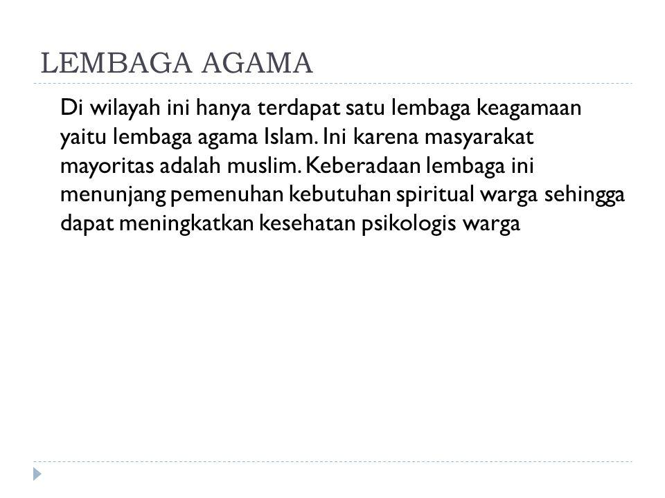 LEMBAGA AGAMA Di wilayah ini hanya terdapat satu lembaga keagamaan yaitu lembaga agama Islam.