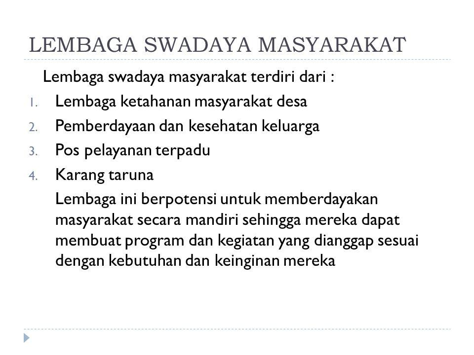 LEMBAGA SWADAYA MASYARAKAT Lembaga swadaya masyarakat terdiri dari : 1.