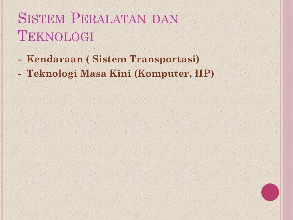 S ISTEM P ERALATAN DAN T EKNOLOGI - Kendaraan ( Sistem Transportasi) - Teknologi Masa Kini (Komputer, HP)