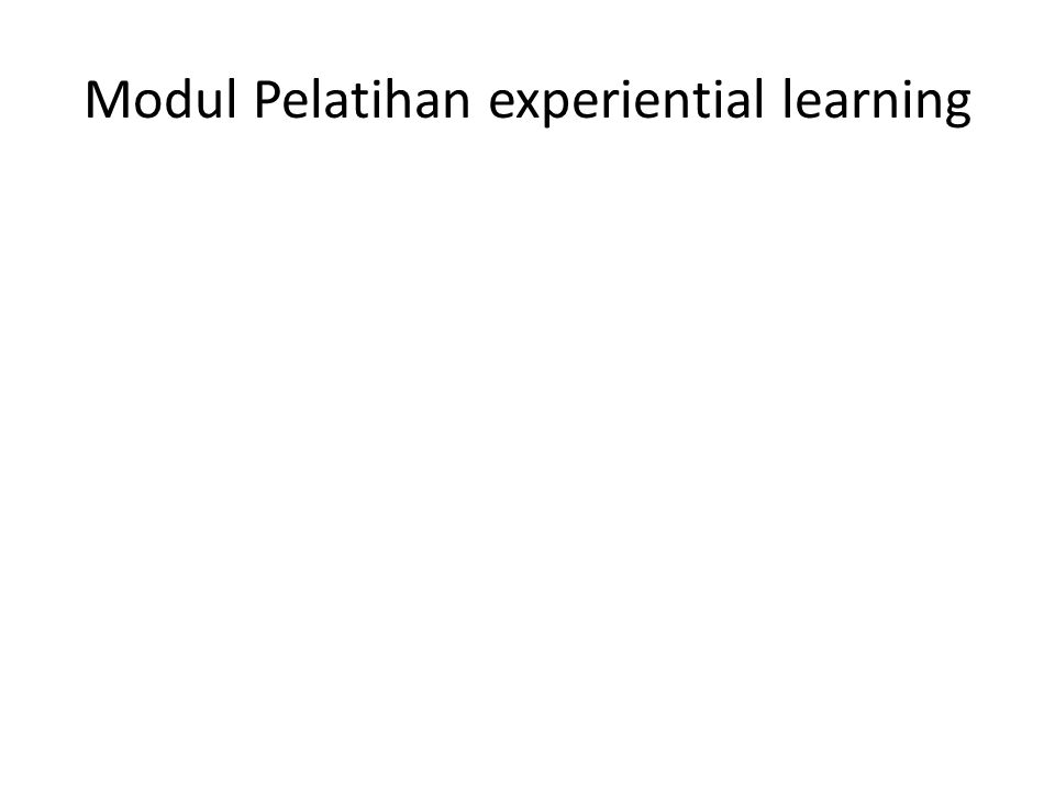 Modul Pelatihan experiential learning
