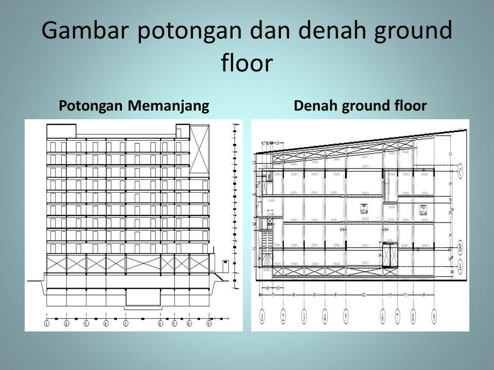 Gambar potongan dan denah ground floor Potongan MemanjangDenah ground floor
