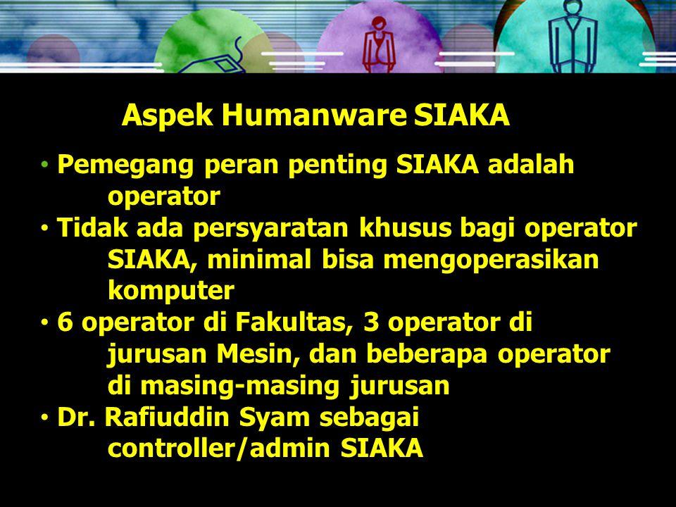 Aspek Humanware SIAKA Pemegang peran penting SIAKA adalah operator Tidak ada persyaratan khusus bagi operator SIAKA, minimal bisa mengoperasikan komputer 6 operator di Fakultas, 3 operator di jurusan Mesin, dan beberapa operator di masing-masing jurusan Dr.
