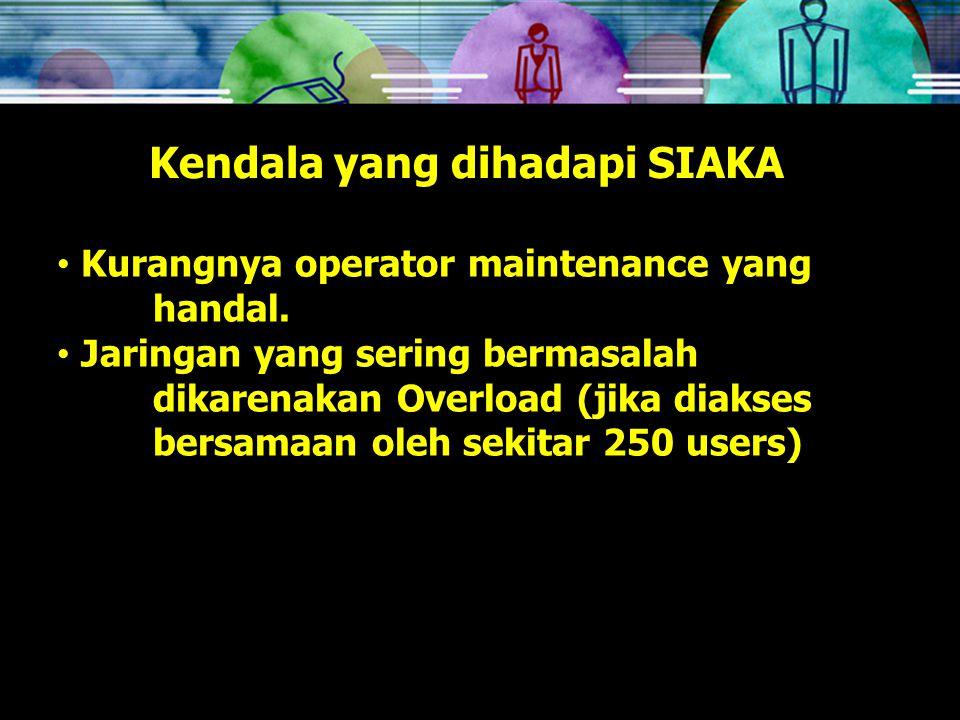 Kendala yang dihadapi SIAKA Kurangnya operator maintenance yang handal.