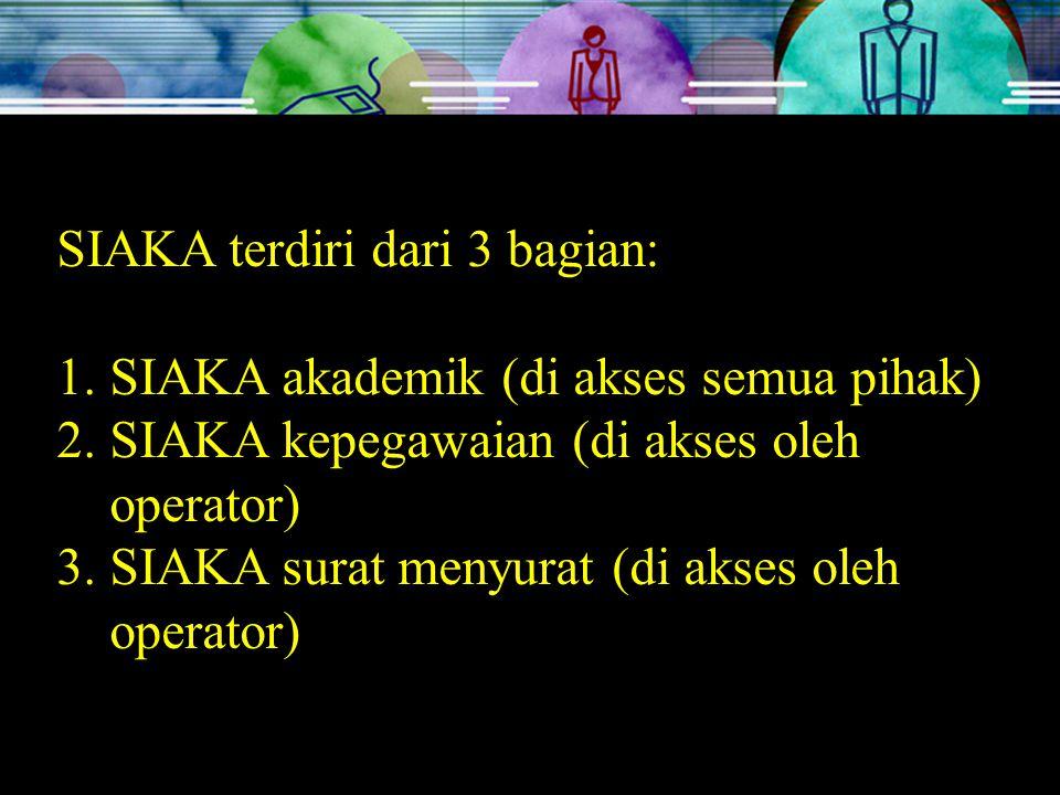 SIAKA terdiri dari 3 bagian: 1.SIAKA akademik (di akses semua pihak) 2.SIAKA kepegawaian (di akses oleh operator) 3.SIAKA surat menyurat (di akses oleh operator)