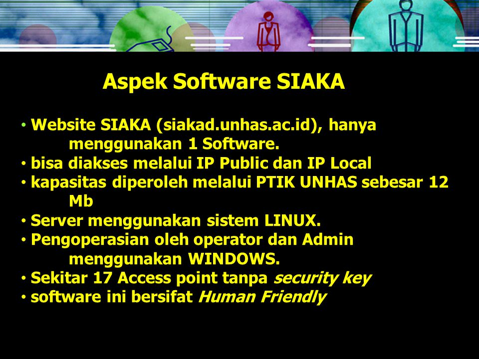 Aspek Software SIAKA Website SIAKA (siakad.unhas.ac.id), hanya menggunakan 1 Software.