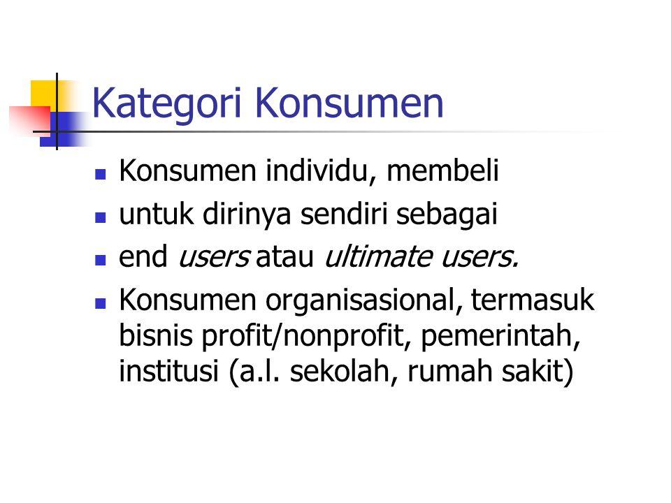 Kategori Konsumen Konsumen individu, membeli untuk dirinya sendiri sebagai end users atau ultimate users. Konsumen organisasional, termasuk bisnis pro