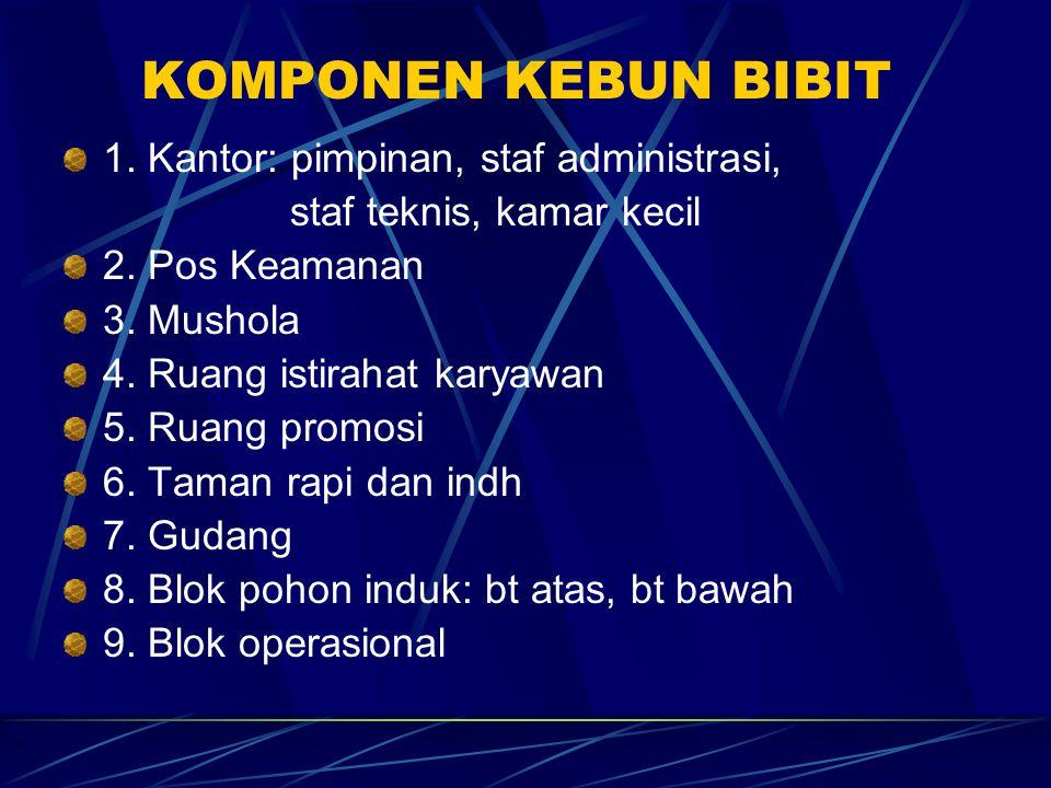 KOMPONEN KEBUN BIBIT 1. Kantor: pimpinan, staf administrasi, staf teknis, kamar kecil 2.