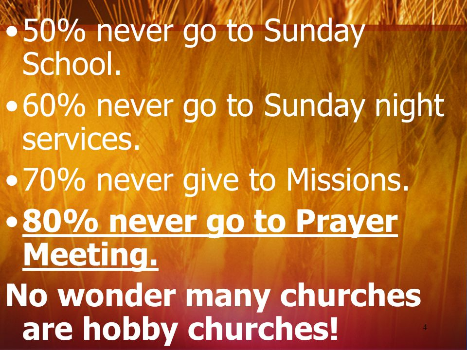 A survey shows a typical church in America has members who: 20% never pray. 25% never read their Bibles. 30% never attend church. 40% never give to an