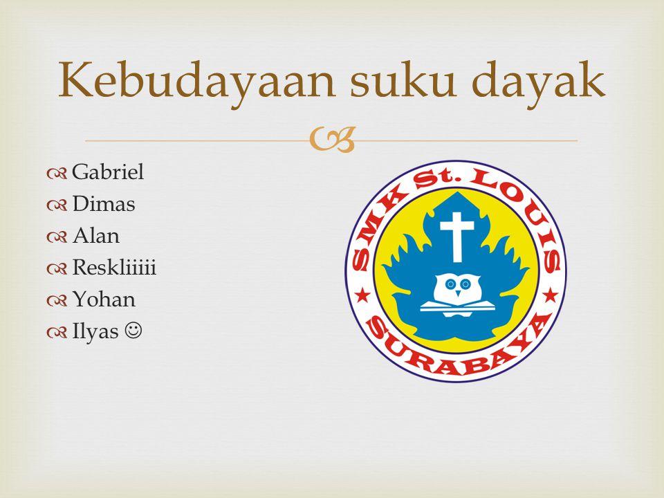   Gabriel  Dimas  Alan  Reskliiiii  Yohan  Ilyas Kebudayaan suku dayak