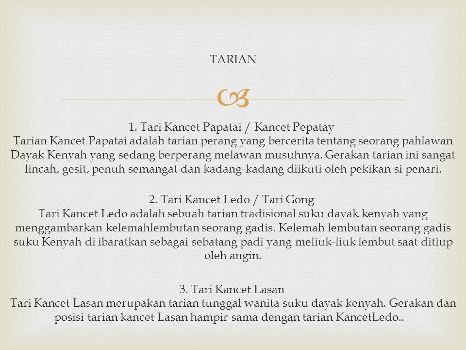  4.Tari Leleng Tarian Leleng adalah tarian gadis suku dayak Kenyah yang bercerita tentang seorang gadis bernama Utan Along yang akan dikawinkan secara paksa dengan pemuda yang tak dicintainya.