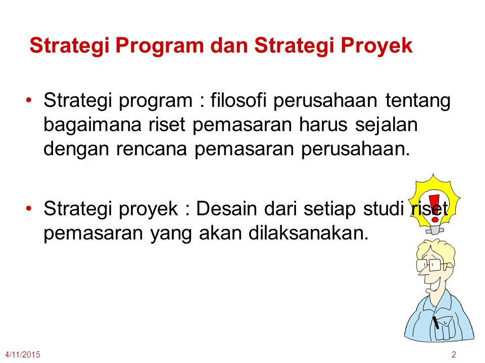 Strategi Program dan Strategi Proyek Strategi program : filosofi perusahaan tentang bagaimana riset pemasaran harus sejalan dengan rencana pemasaran p