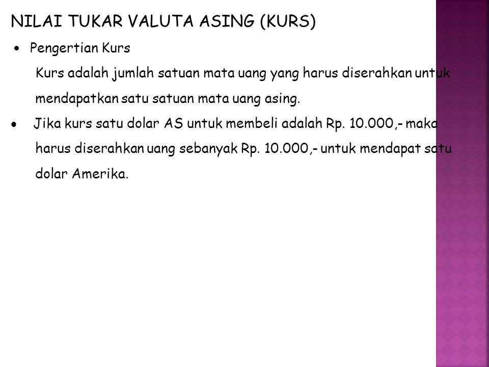 NILAI TUKAR VALUTA ASING (KURS)  Pengertian Kurs Kurs adalah jumlah satuan mata uang yang harus diserahkan untuk mendapatkan satu satuan mata uang asing.
