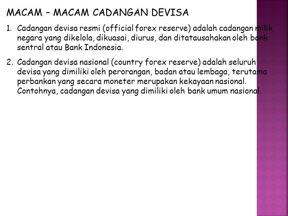 MACAM – MACAM CADANGAN DEVISA 1.Cadangan devisa resmi (official forex reserve) adalah cadangan milik negara yang dikelola, dikuasai, diurus, dan ditatausahakan oleh bank sentral atau Bank Indonesia.