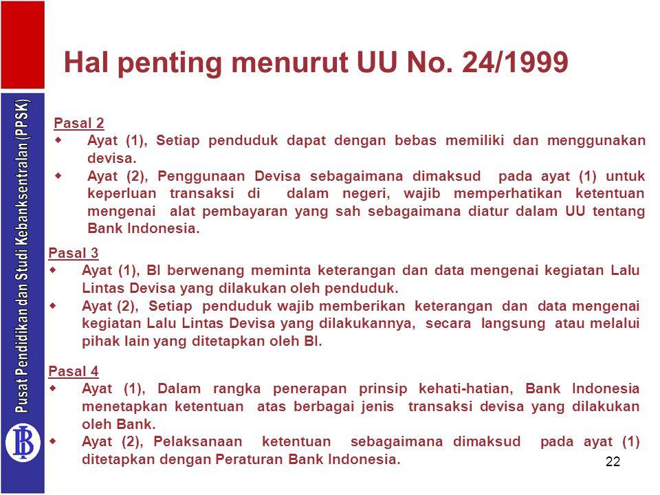 22 Pasal 2  Ayat (1), Setiap penduduk dapat dengan bebas memiliki dan menggunakan devisa.  Ayat (2), Penggunaan Devisa sebagaimana dimaksud pada aya
